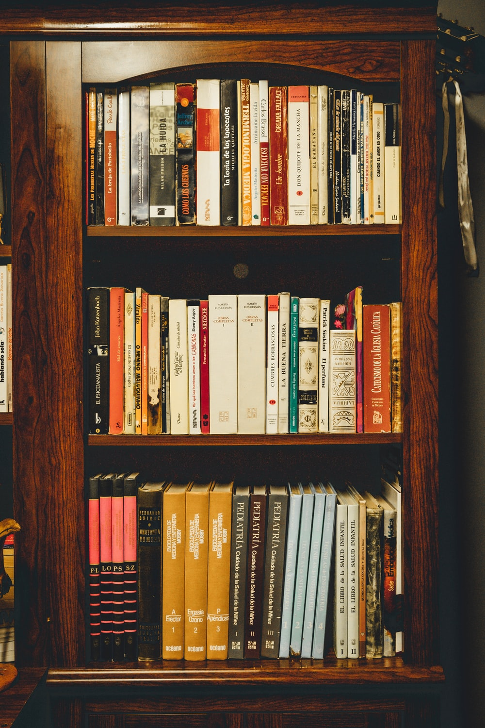 assorted-title books in bookcase
