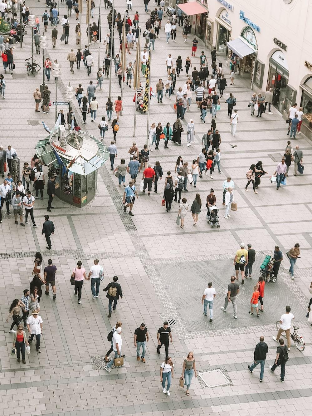 people walking outside store