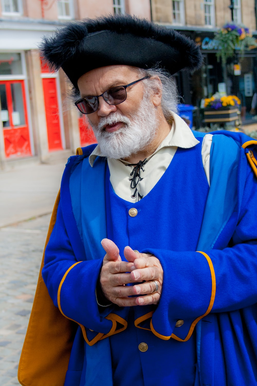 man wearing blue costume