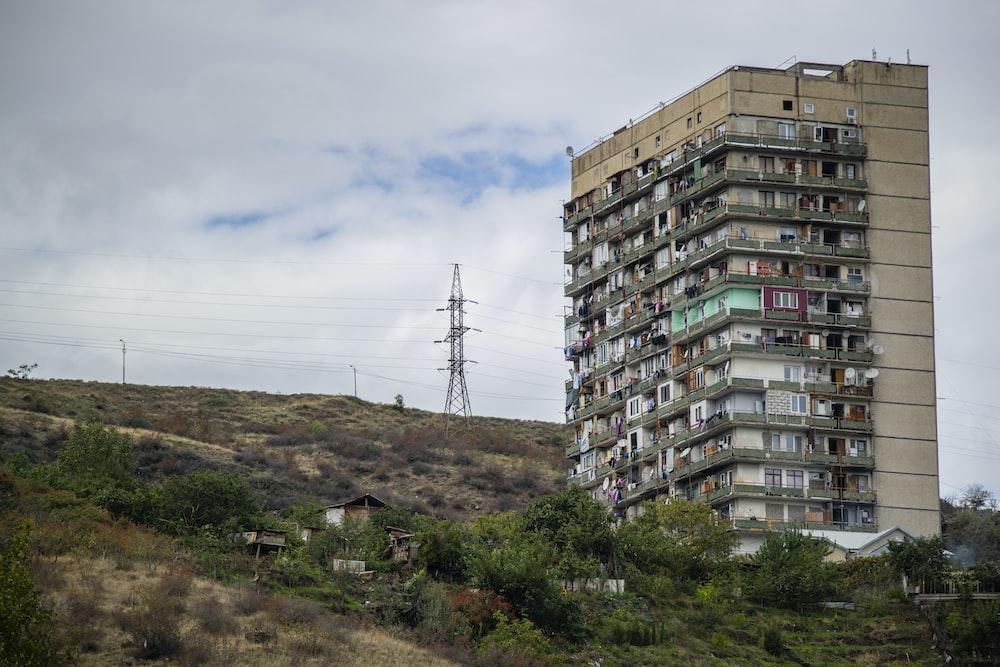 building near houses on mountain