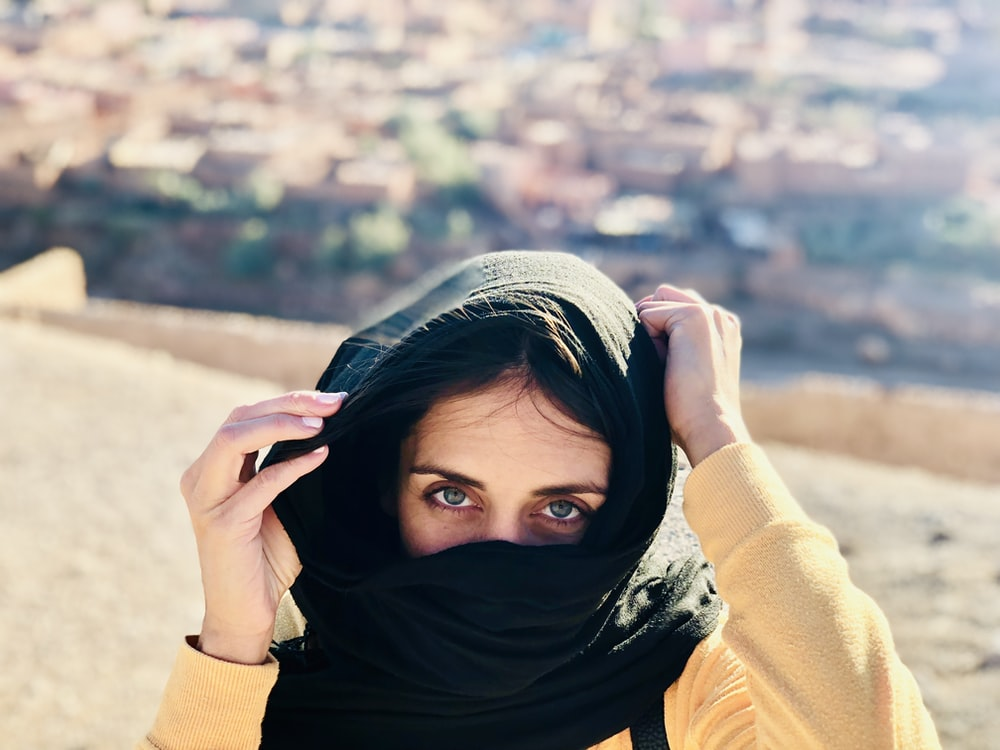 women's black hijab scarf