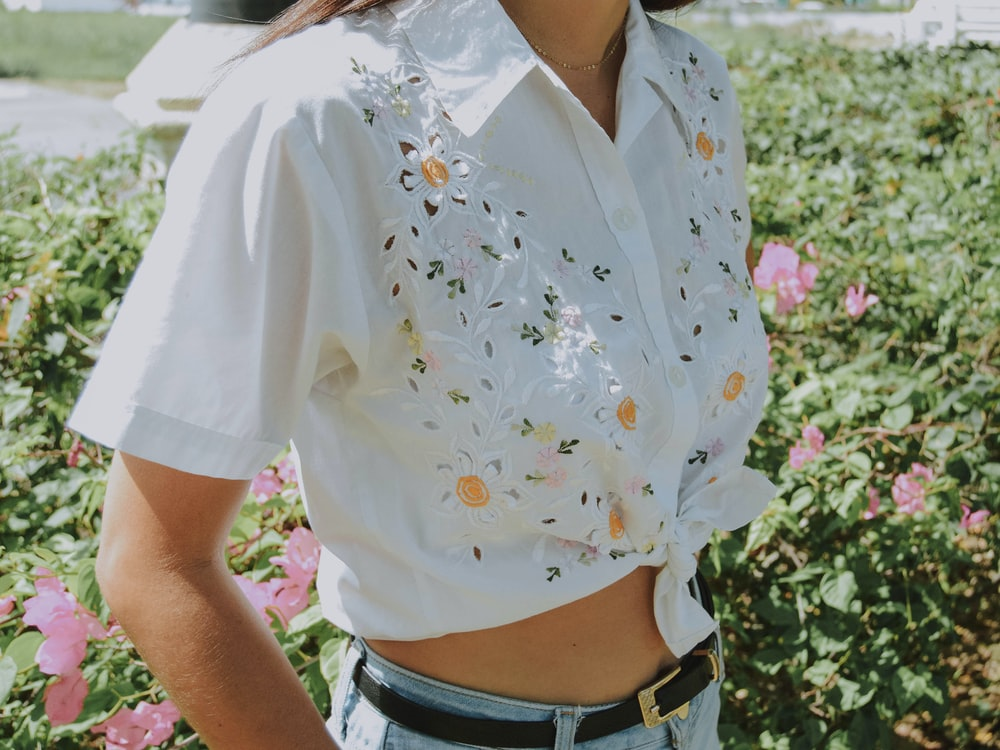women's white and multicolored floral top
