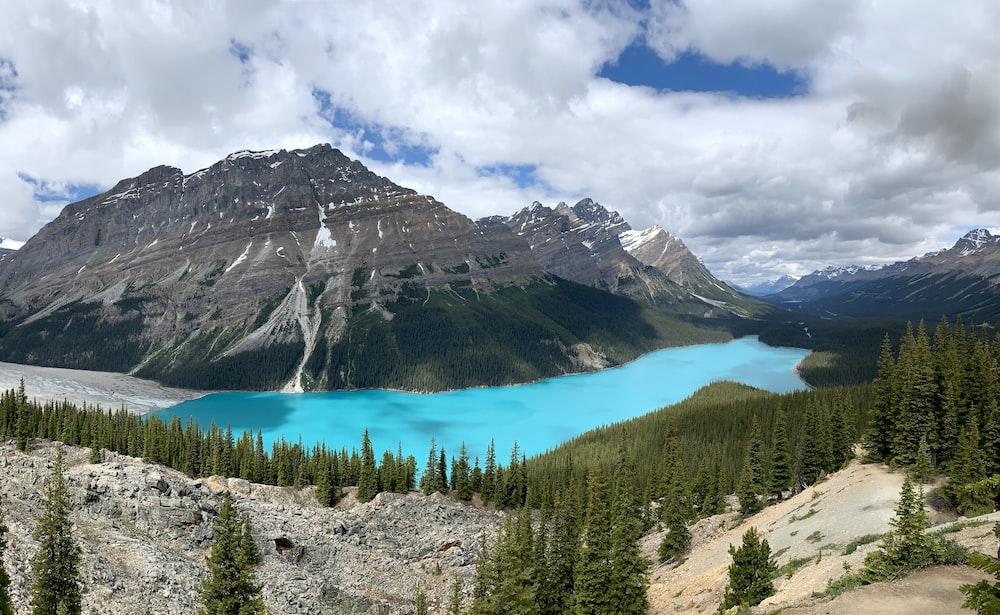 lake beside hills