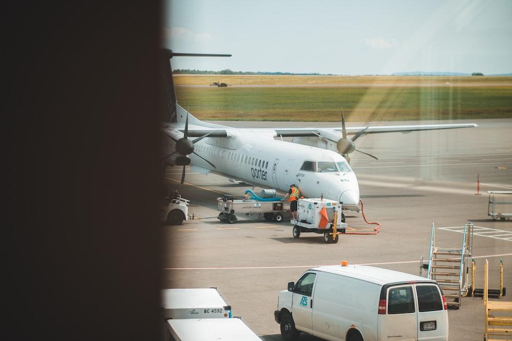 white airplane at daytime