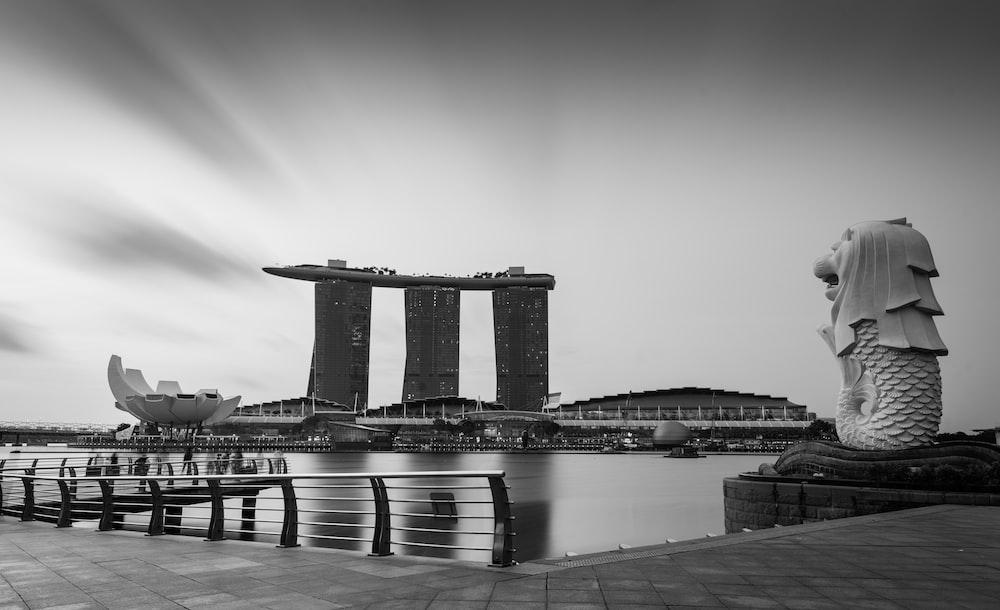 grayscale photo of Marina Bay Sand, Singapore