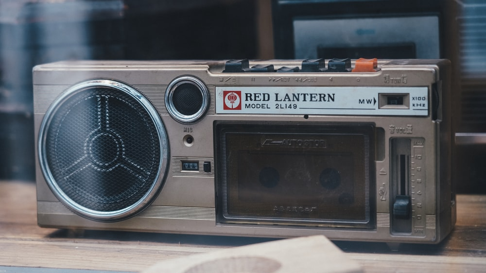 rectangular gray Red Lantern boombox