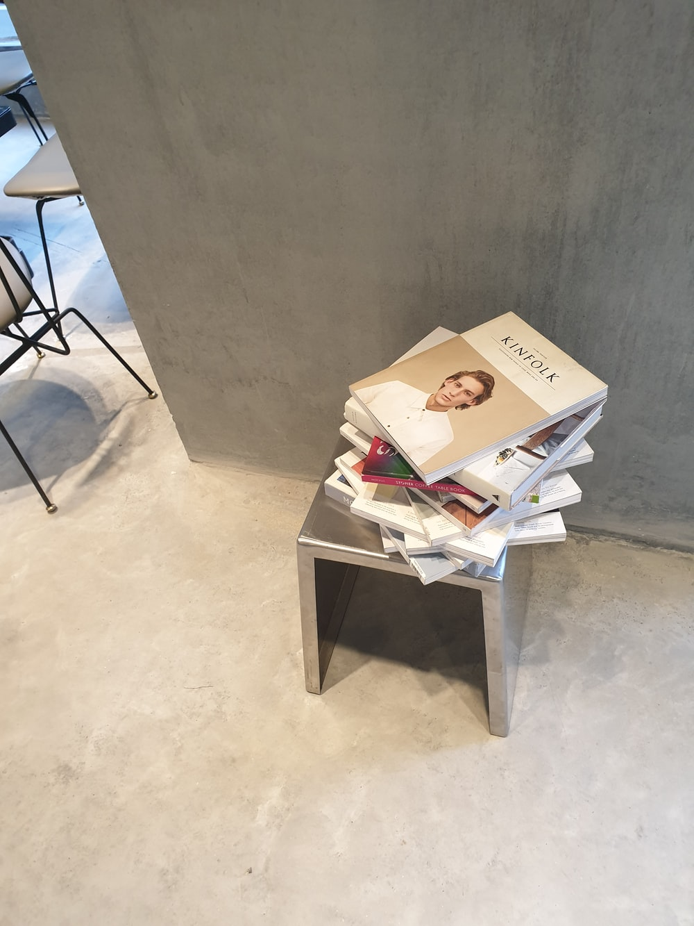 book lot on chair