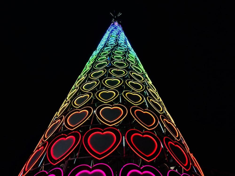 multicolored heart lightened decor