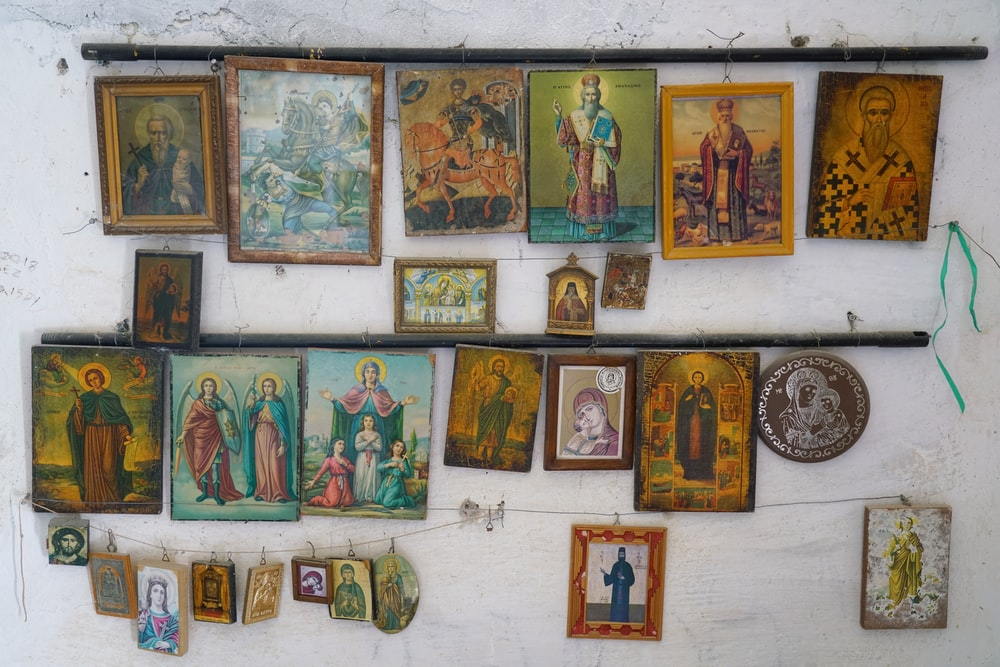 religious images on white painted wall