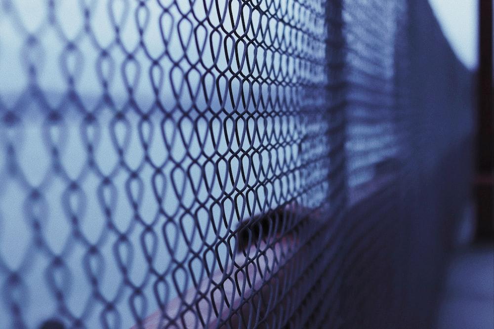 grey metal link fence