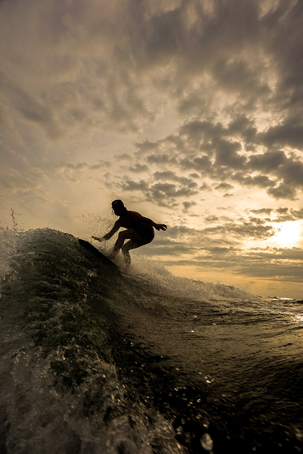 silhouette of person riding on surfboard