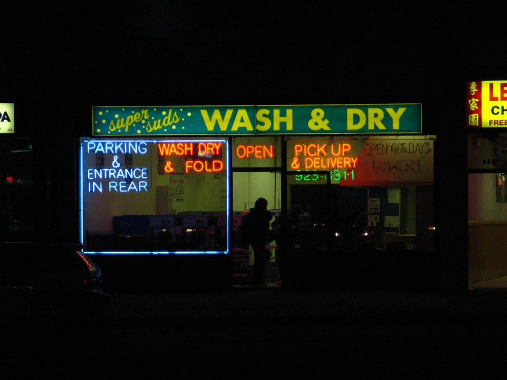 wash and dry signboard in store