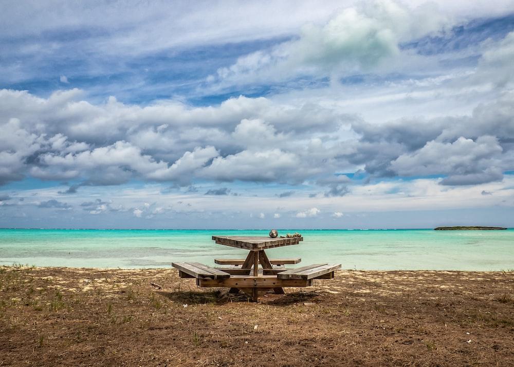 picnic table on seashore