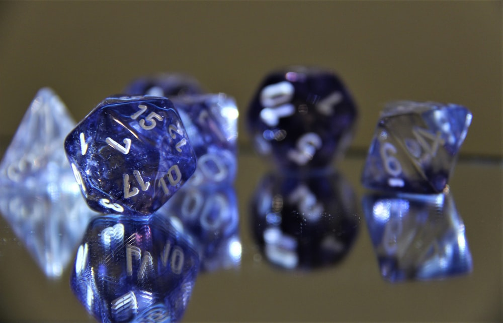 blue and clear gemstones