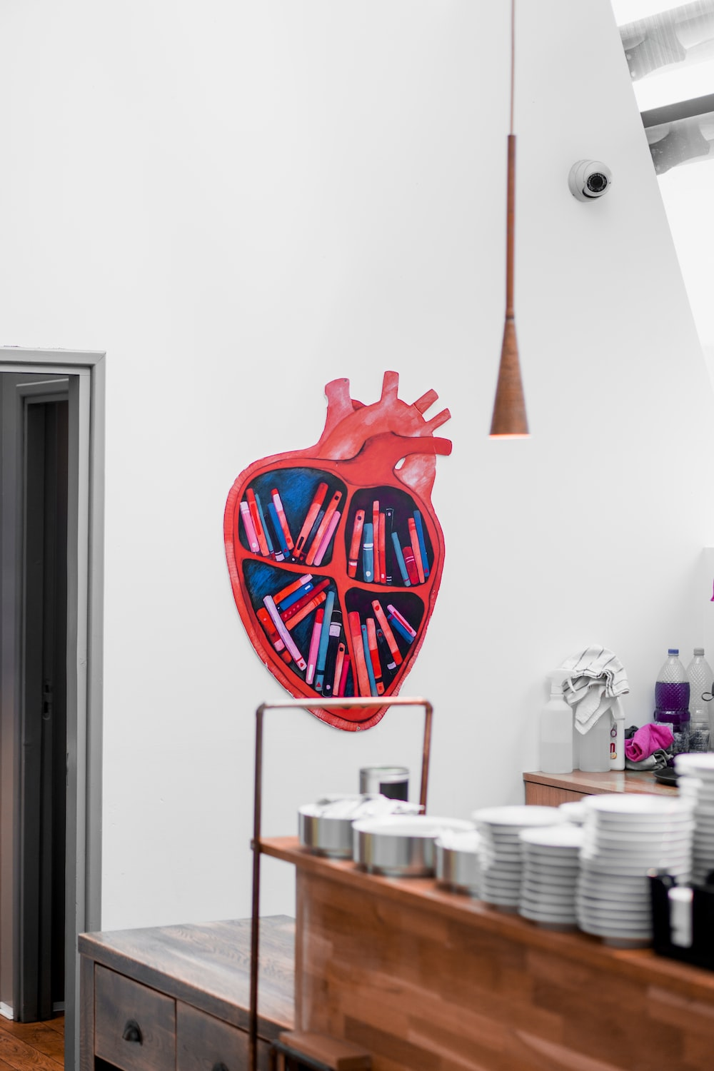 red and blue heart painting