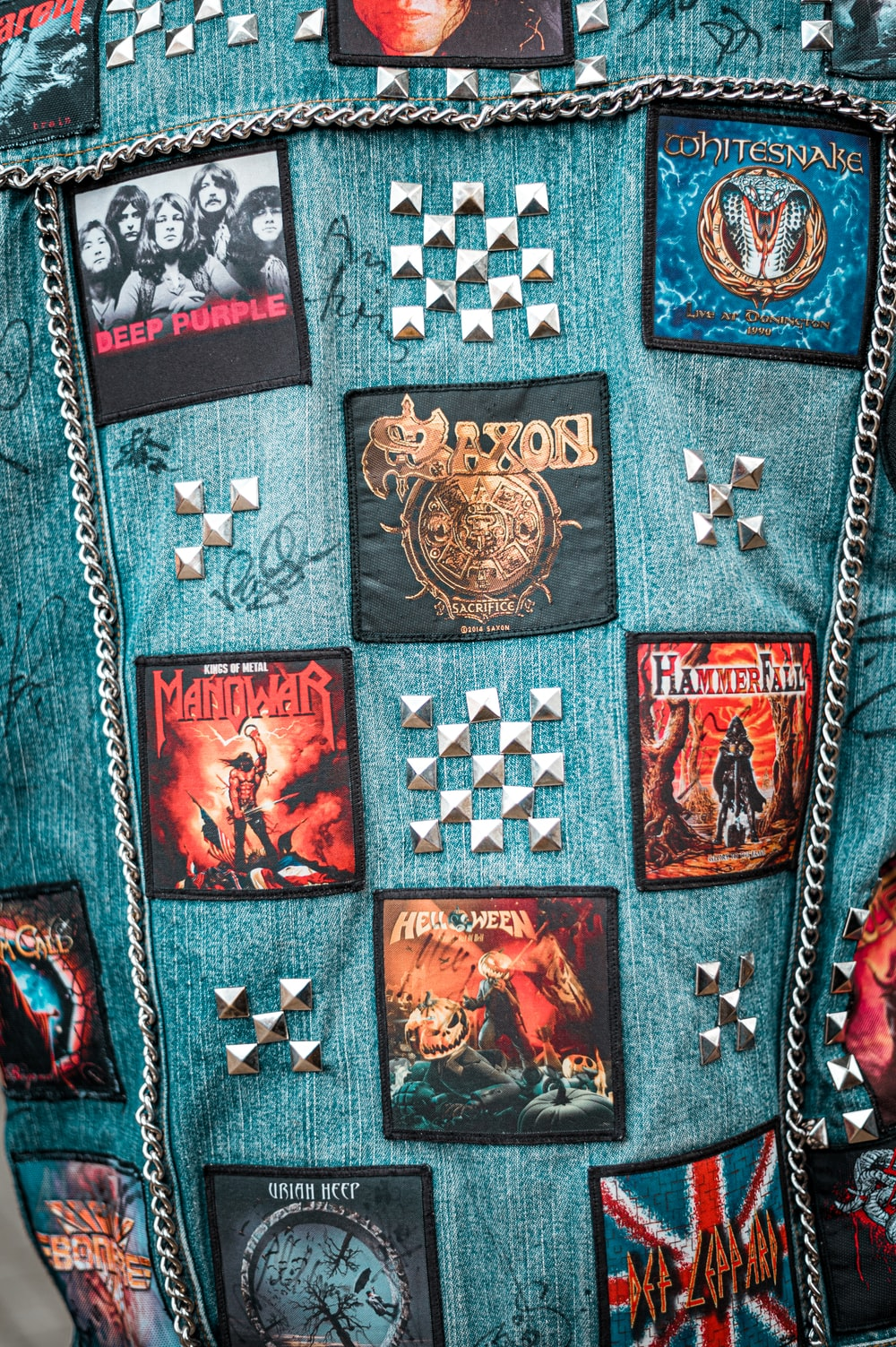 blue, red, and brown denim fabric