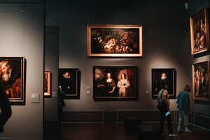 person standing on museum