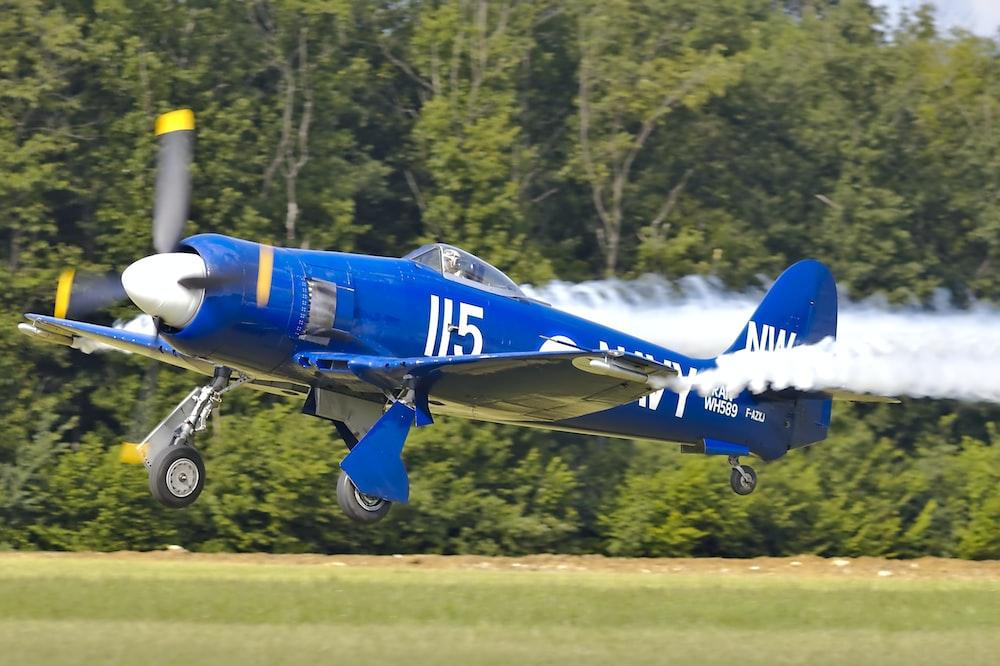 shallow focus photo of blue monoplane