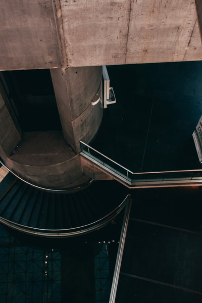 high angle photo of stairs