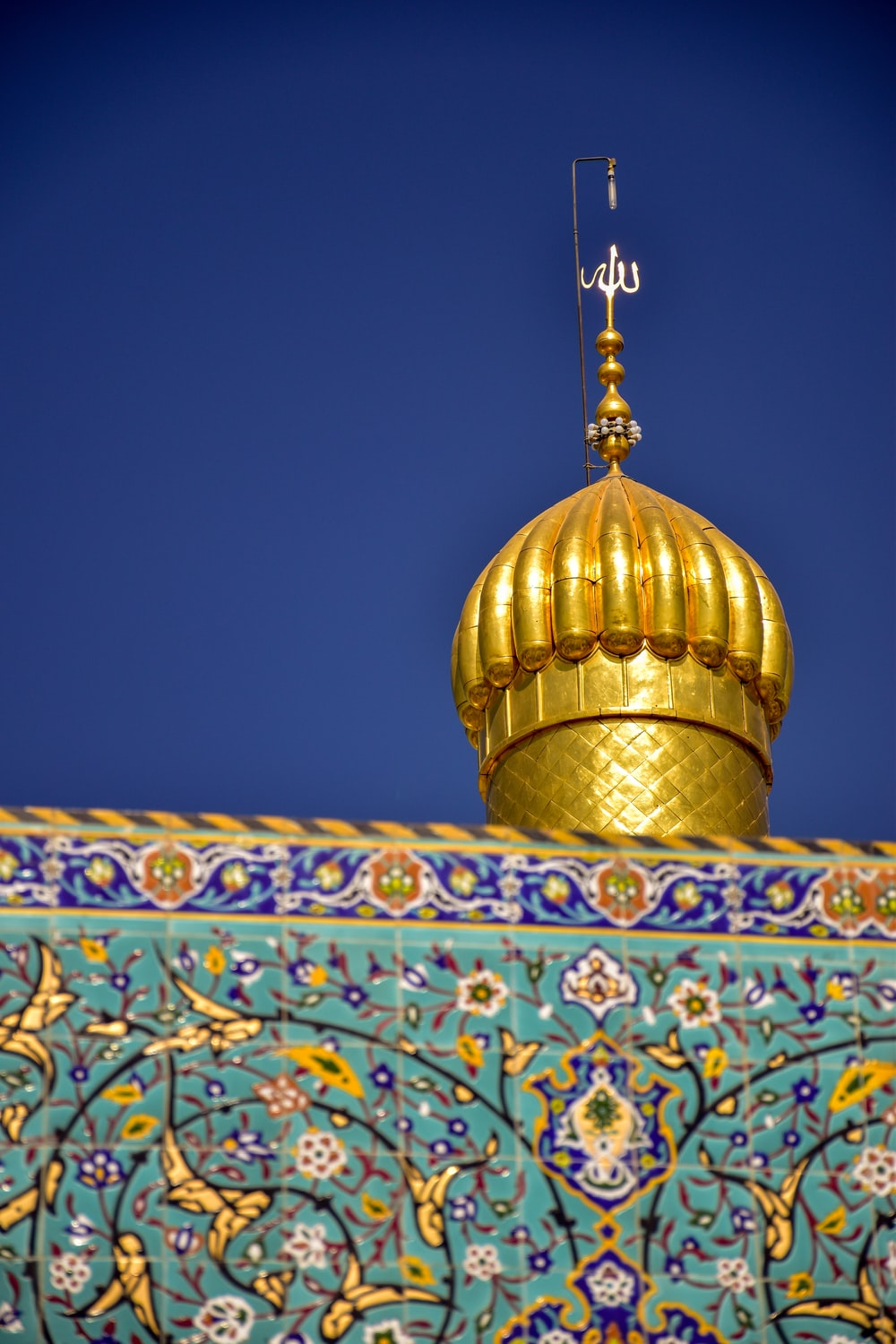 blue and gold dome top building