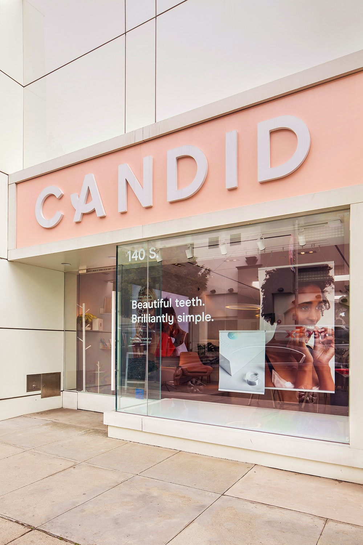 Candid shop with glass door