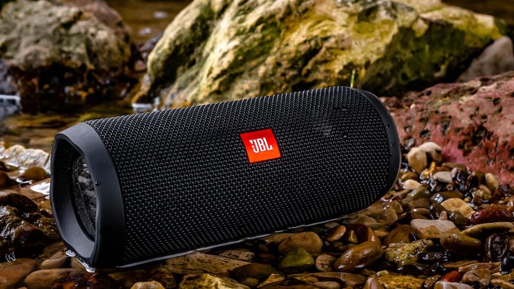 black JBL portable speaker
