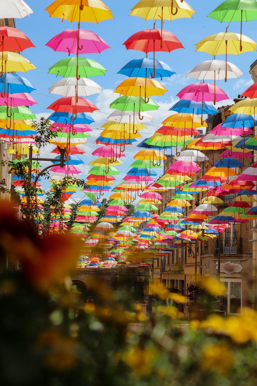 hanging assorted-color umbrellas