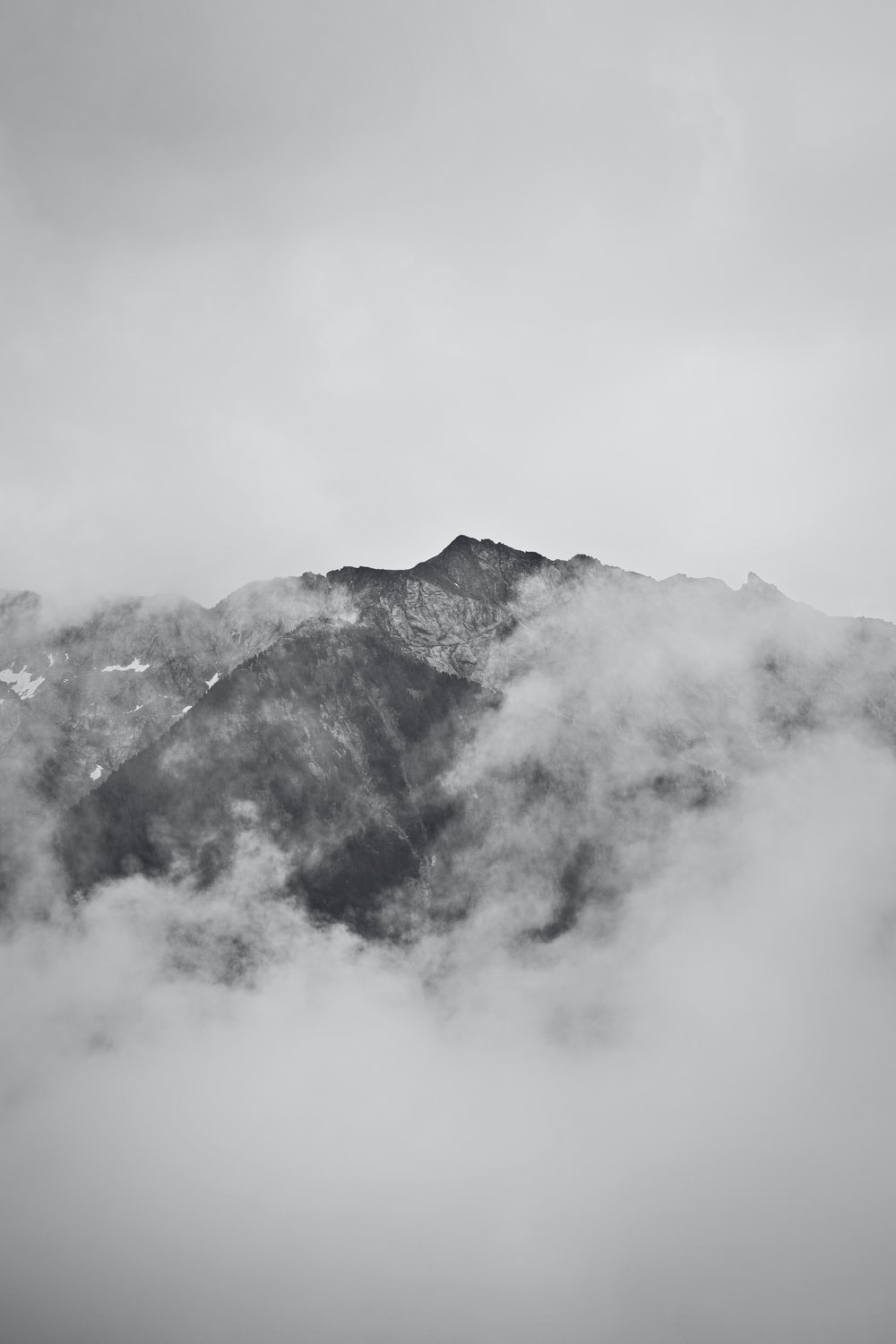 grayscale photography covered with fogs
