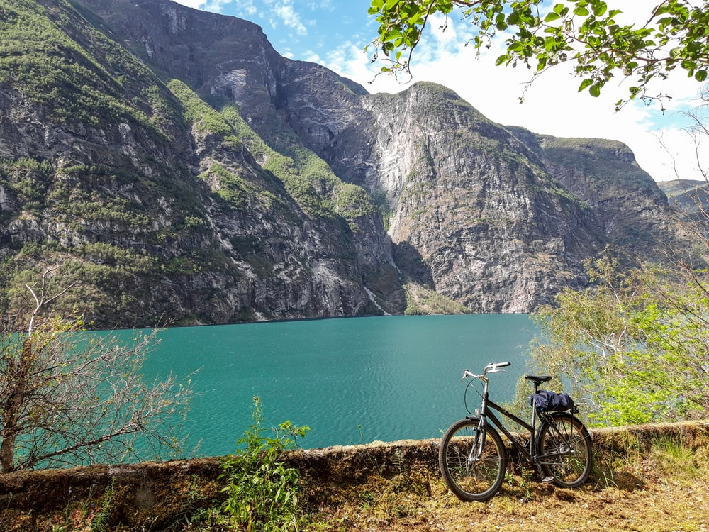 black bicycle parked standing near body of water