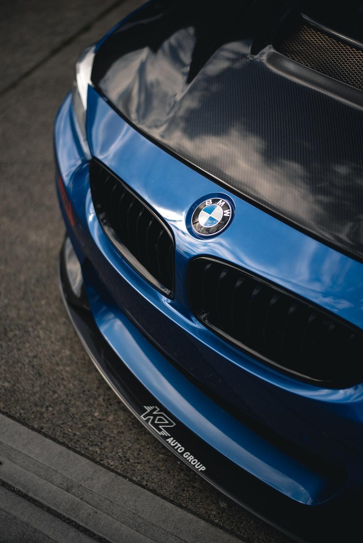 black and blue BMW car