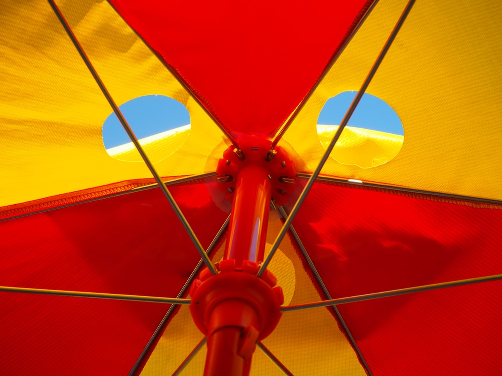 red and white parasol