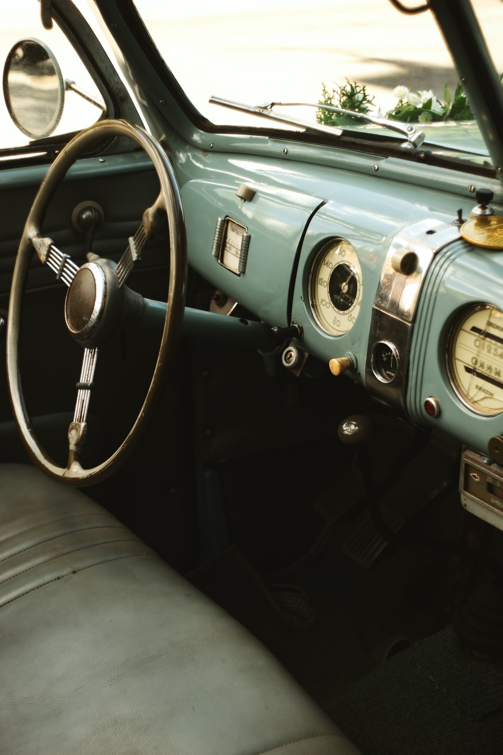 black and gray vintage vehicle interior