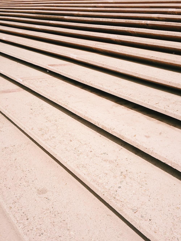 brown long concrete steps
