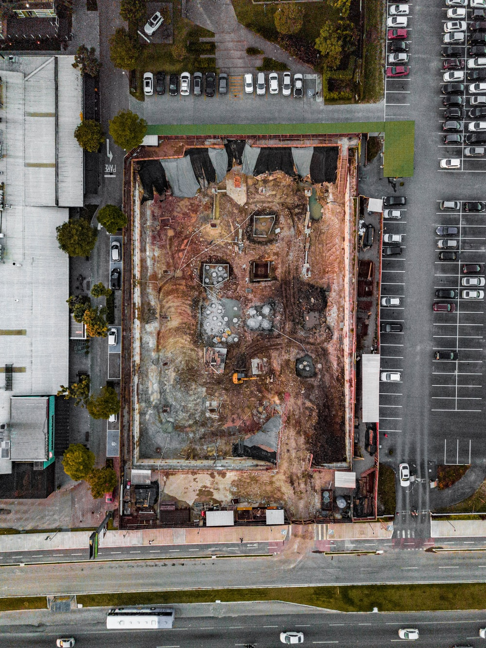 aerial photography of construction site