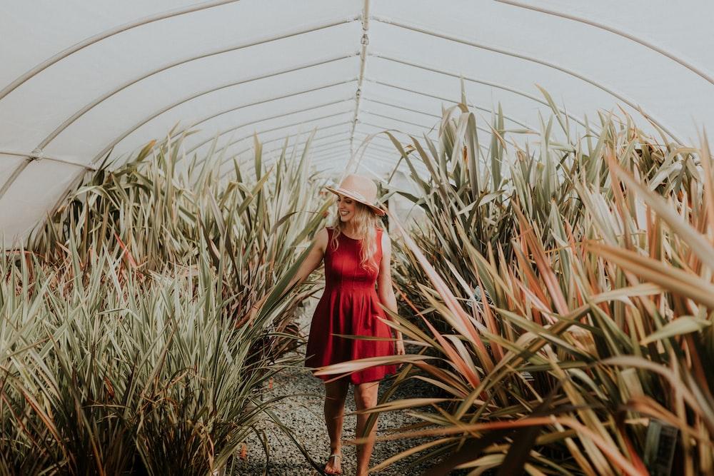 women's red mini dress standing between plants