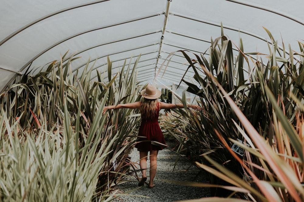 woman inside greenhouse