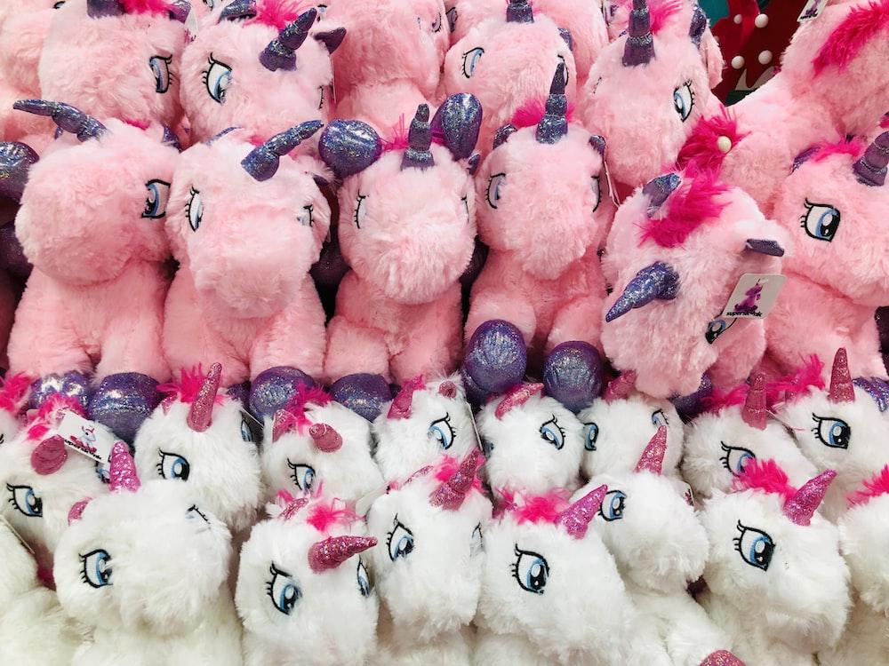 pink and white unicorn plush toys
