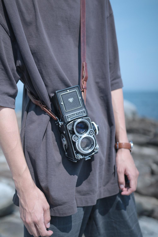 black twin-lens reflex camera