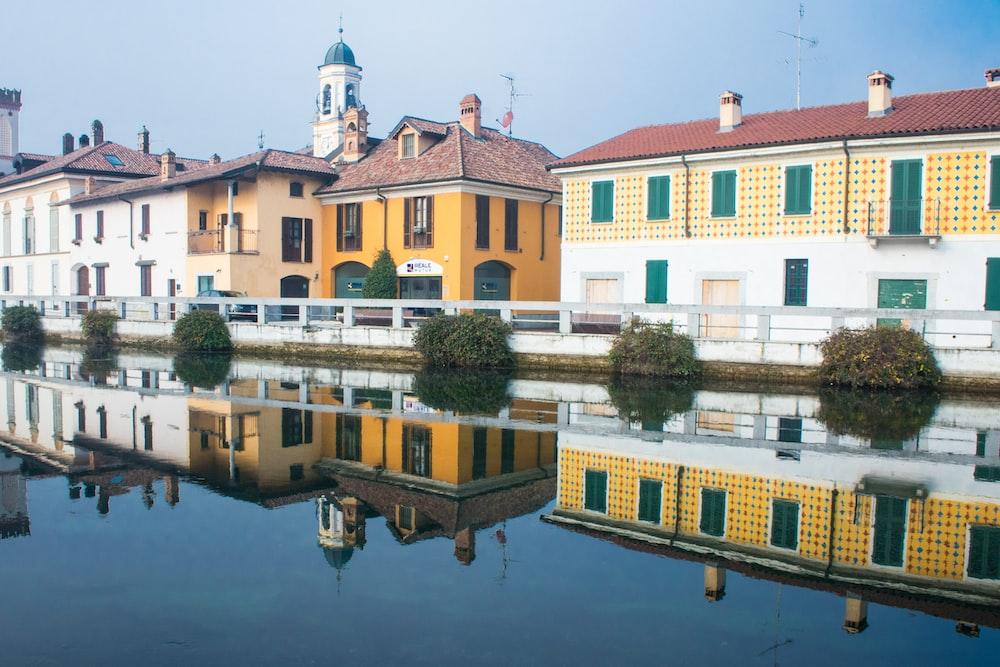body of water beside buildings
