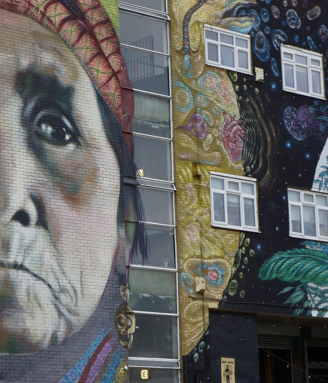Hackney, East London. Old Native American Woman. Mural.