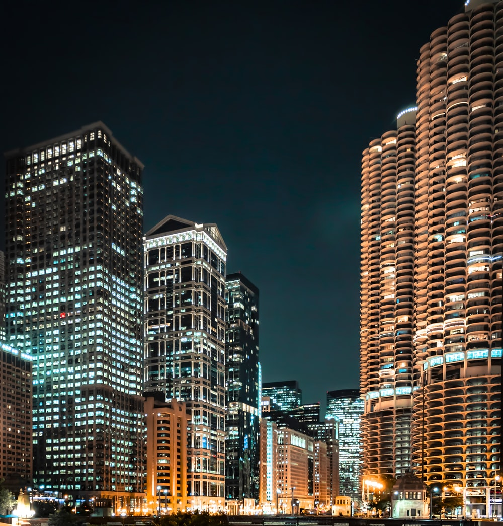 high-rise building at nigh time