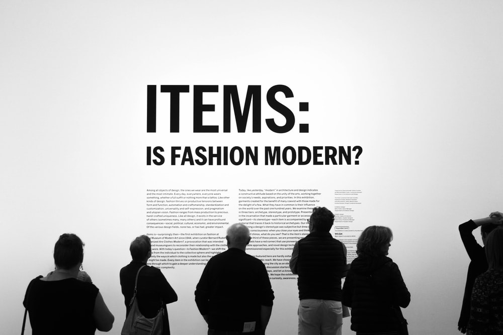 Items: is fashion modern? text overlay