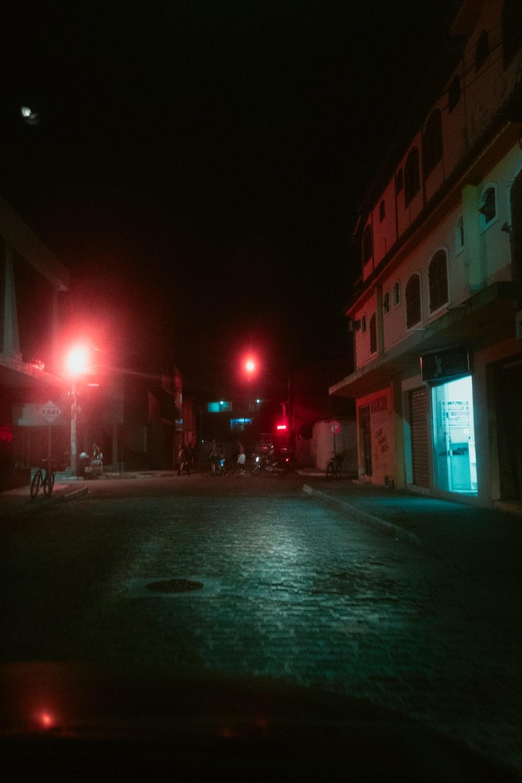 empty pavement at night