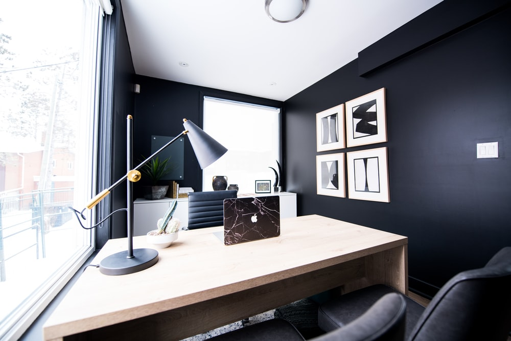 table lamp on desk inside room