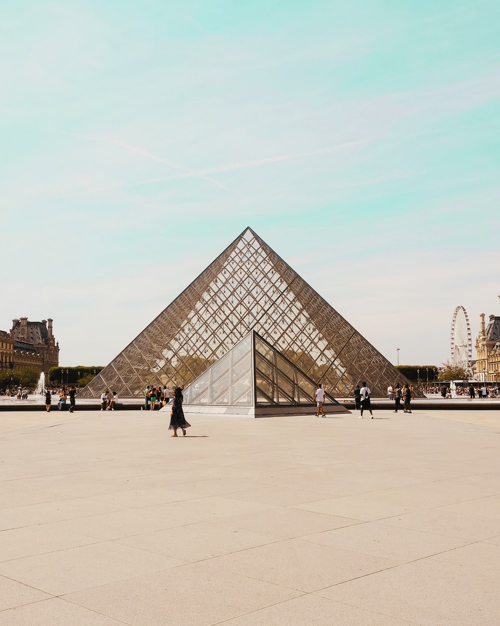 Louvre Pyramid at daytime