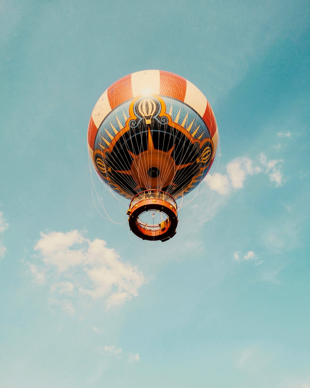 white and orange hot air balloon