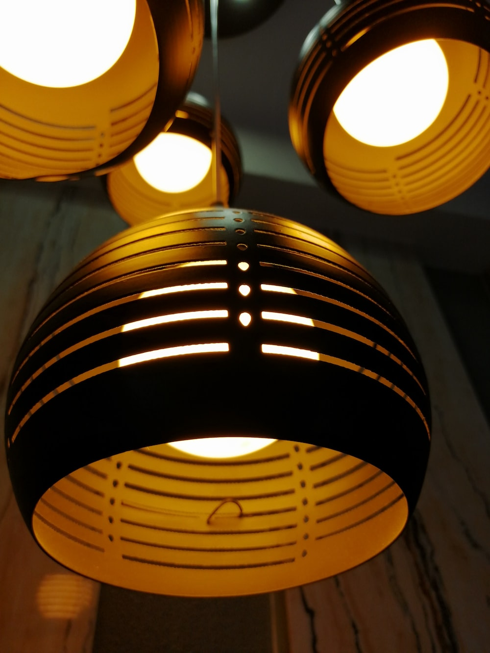 black and brown pendant lamps