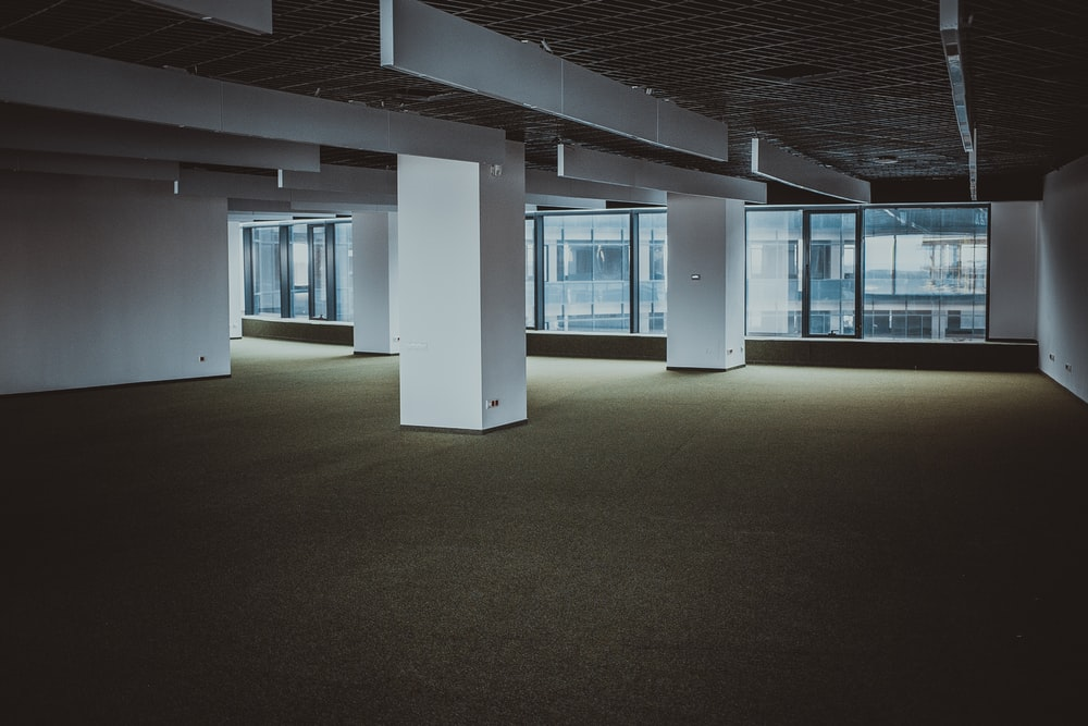 empty brown and white building