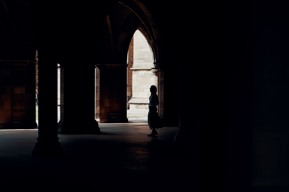silhouette photography of person inside building