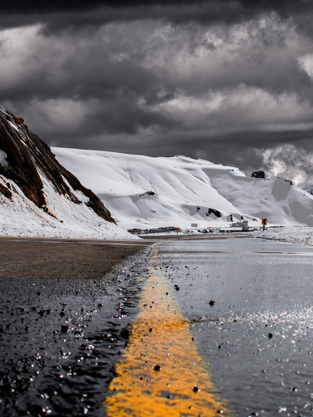 empty street beside mountains